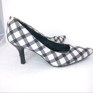 Comfort Plus Black and White Plaid Heels